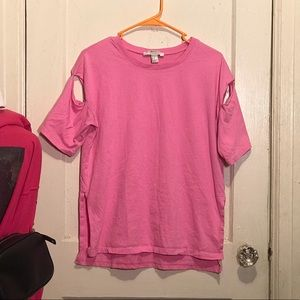 Pink Cut-Out Sleeve Shirt